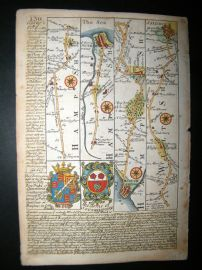 Owen & Bowen C1740 Hand Col Road Map. Hampshire, Wilts. Southampton, Salisbury